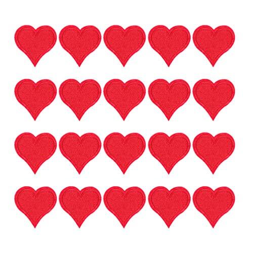 ARTIBETTER 20St Hjärta Broderi Applikation Mini Hjärta Broderade Reparation Plåster Järn På Sy På Tyg Klistra Röd Hjärta Applikas För DIY Applique Shift Kids Kläder Hatt Väskan Decor.
