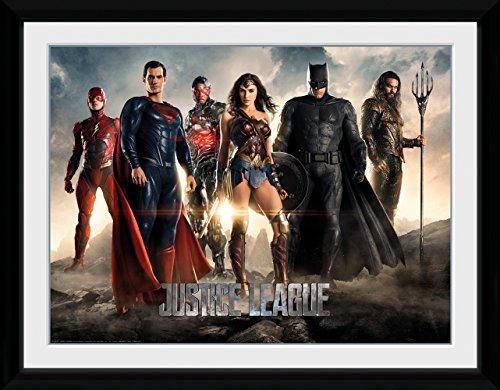 GB eye Justice League - Póster enmarcado (madera, 52 x 44 x 3 cm), diseño de la Liga de la Justicia