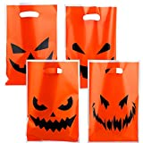 Aneco 72 Pieces Halloween Plastic Bags Trick or Treat Bags Pumpkin Face Candy Bags Halloween Party Bags for Halloween Party Favors, Decorations, 17 x 11 Inches