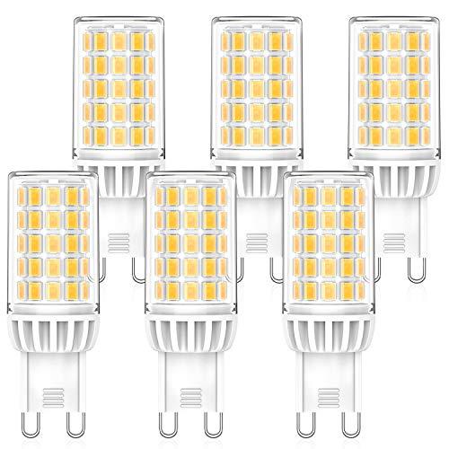 MLlichten 6W Bombillas LED G9 4000K Blanco Natural, Equivalente 50W 60W Halógeno, No Regulable Sin Parpadeo G9 LED Bombillas, AC220-240V G9 Lámpara LED, Ángulo de Luz de 360°, Paquete de 6