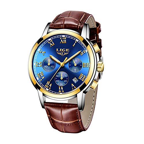 LIGE Reloj para Hombre Elegante Resistente al Agua con Movimiento de Cuarzo Analógico Cronógrafo Relojes Deportivos Informales de Cuero Correa Marrón (Azul)