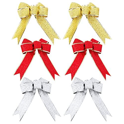 Lazos de Navidad 9 piezas Arcos de Cinta de Navidad Lazo Rojo Navidad Purpurina Lazos de Navidad Grandes Lazos de Cinta para decoración del hogar, Fiesta de Navidad y Año Nuevo