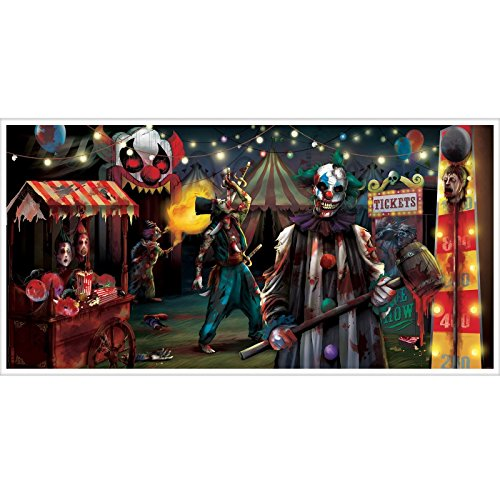 12,7cm 4ft Halloween Creepy Clown Karneval Sinister Killer Jester Circus Freak Show PU Poster Banner 1,65m x 85cm Dekoration