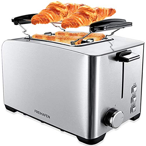 FREIHAFENEdelstahlToaster 2Scheiben Toster 800W Automatik-Toaster mit6Bräunungsstufen,Auftaufunktion,Wiederaufwärmen,Brötchenaufsatz,Edelstahlgehäuse Doppelteschlitzen und Krümelschublade