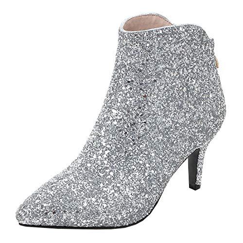MISSUIT Damen Kitten Heels Stiefeletten Glitzer Ankle Boots mit 6cm Absatz Reißverschluss Hochzeit Braut Winter Schuhe(Silber,38)
