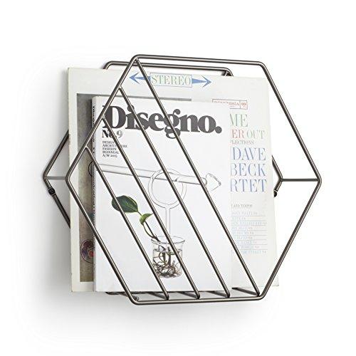 umbraマガジンラック6角形スチール製雑誌収納チタニウムW375×D120×H330mmZINA21008973378