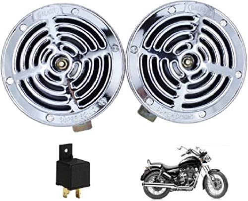 Iron Clutch Supersonic Silver Steel Grill Horns for All Bikes and Cars(Set of 2)