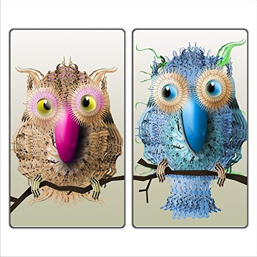 Tiere 2 Set Glas Abdeckplatte 2x30x52 Schneidebrett Herdabdeckplatte
