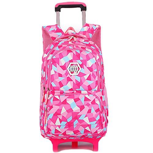 LHY EQUIPMENT Elementary School Wheeled Trolley Bag Ridge Protection Belt Roller Waterproof Shoulder Bag Retractable Handle Suitcase,rosered,2wheels