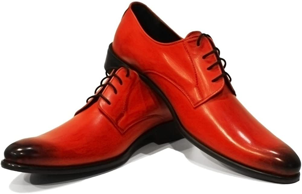Modello Bliko - Handmade Italian Mens Color Red Oxfords Dress Shoes - Cowhide Hand Painted Leather - Lace-Up