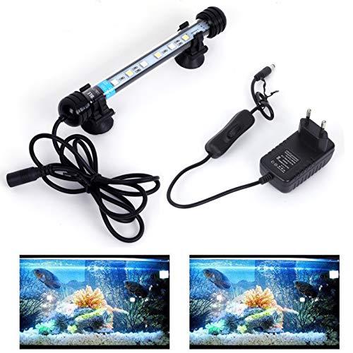 SolarNovo 18-112cm LED Aquarium-Licht Unterwasser BeleuchtungAufsatzleuchte Abdeckung Wasserdicht Lampe Stecker EU für Fisch Tank mit Fernbedienung RGB Farbwechsel (1.8 * 18cm, Weiß & Blau)