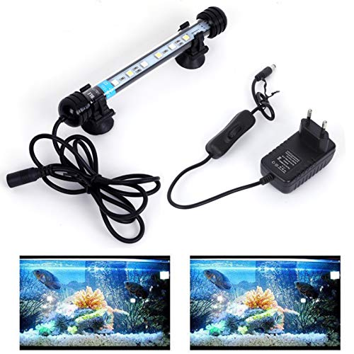 MLJ LED Aquarium Lighting for Fish Tank, Waterproof Amphibious Light White & Blue/RGB, 9 Sizes (18cm, White&Blue)