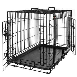 FEANDREA Cage pour Chien 2 Portes Pliable et Transportable avec Poignées et Plateau