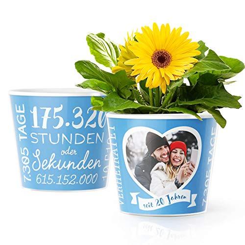 Facepot Porzellanhochzeit Geschenk – Blumentopf (ø16cm)   Deko Geschenke zum 20. Hochzeitstag oder Porzellan Hochzeit mit Herz Bilderrahmen für 1 Foto (10x15cm)   Glücklich Verheiratet - 20 Jahre