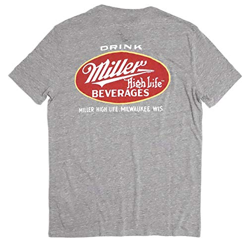 Lucky Brand Men's Retro Miller High Life Tri-Blend Tee (XX-Large) Heather Gray