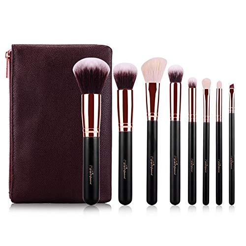 Ensemble de brosse de maquillage, 8pcs Premium Eye brosses cosmétiques pour eyeliner Eye Shadow sourcil, fibre synthétique poils cosmétiques mélange brosse outil avec sac en cuir PU