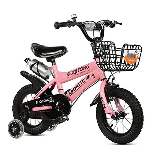 N&I Children's - Bicicleta de montaña para niños de 2 a 11 años con rueda de entrenamiento Flash para niños de 2 a 11 años, cesta de hierro, botella de agua de color rosa