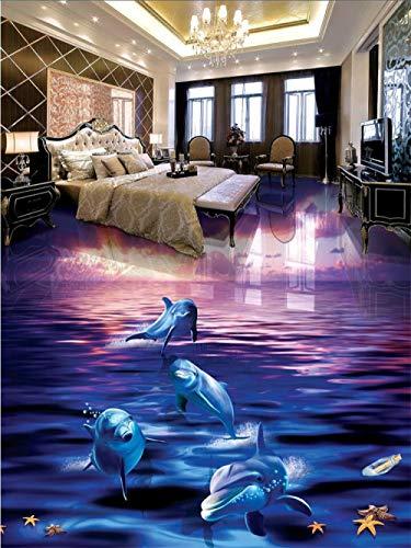 Papel tapiz 3D personalizado con delfines lavados del agua del océano, baño tridimensional, sala de estar, baldosas autoadhesivas 450x300cm
