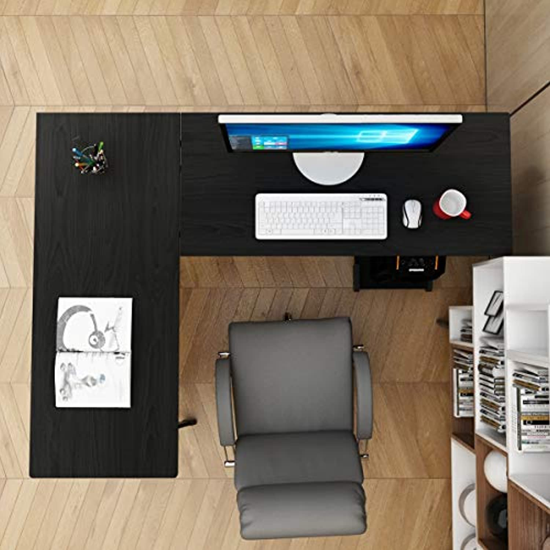 DlandHome 120cm + 110cm L-Frmigen Computer Schreibtisch Eckschreibtisch, Komposit Holz und Metall, Home Office PC Laptop Studie Workstation Ecktisch mit CPU-Stnder, Schwarz & Schwarz