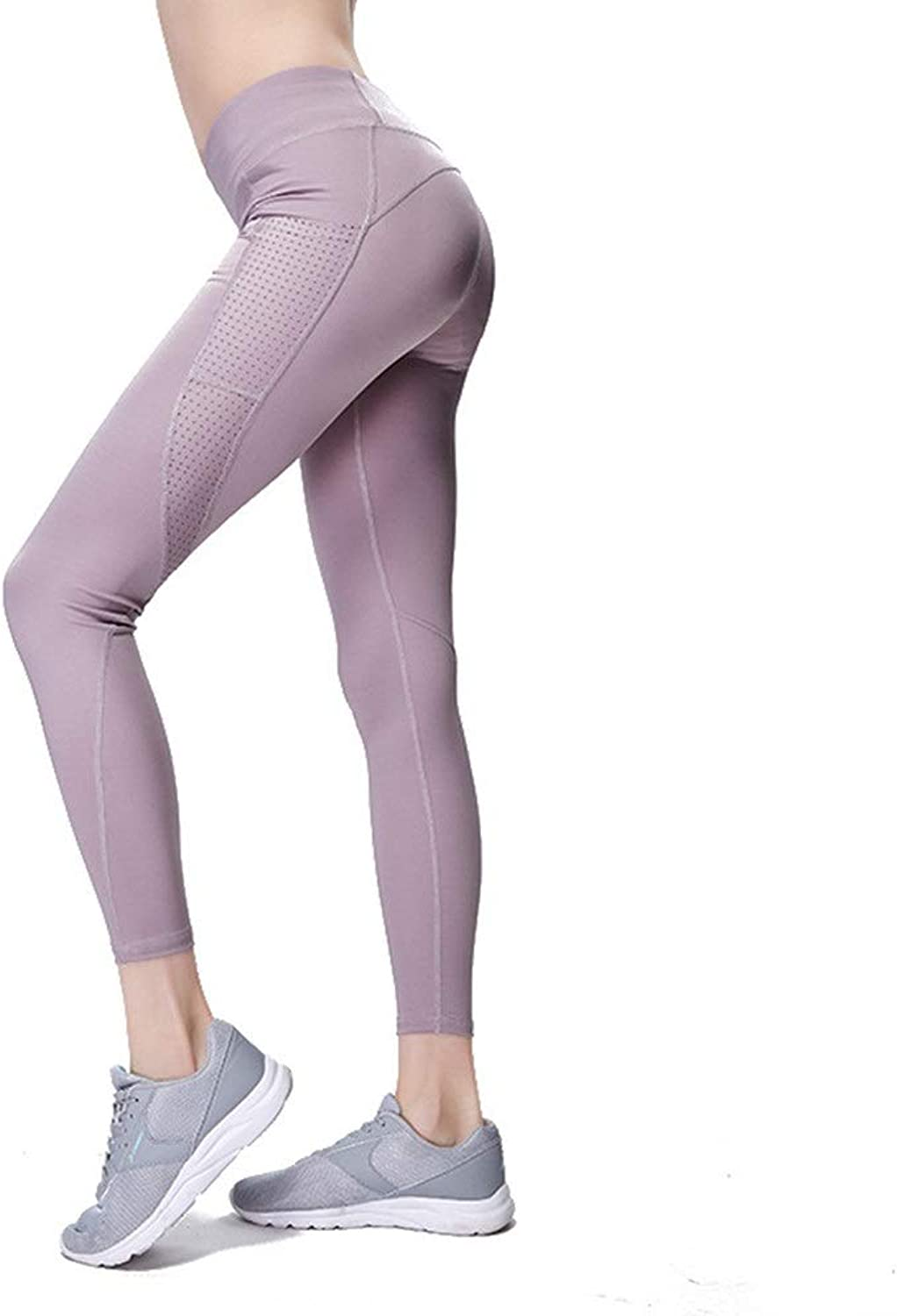Womens Stretch Yoga Leggings Womens High WAIS Workout Leggings Yoga Pants Power Stretch Flex Tights with Pockets Workout Leggings (color   Purple, Size   M)