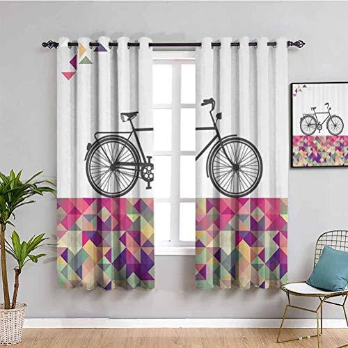 Vintage Gemotérico Art Decor Lindo cortina Bike Over Multicolor Diamantes Uso repetible W72 x L72 pulgadas