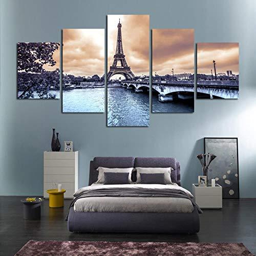 XiaoHeJD 5 Panel Lienzo Marco Pintura Cartel de la Pared Torre Eiffel Ciudades Europeas Construcción Paisaje Fotos Impreso Decoración para el hogar Poster-S