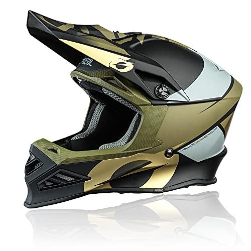 O'NEAL | Motocross-Helm | MX Enduro Motorrad | Innovative und leichte Fiberglas Außenschale, Doppel-D-Sicherheitsverschluss | F-SRS Helmet Glitch | Erwachsene | Schwarz Bronze | Größe M