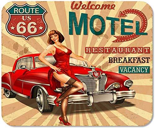 rutschfeste Mousepad Mauspad Computer Büro Auto Motel Route 66 Vintage Retro American Zeichen Home School Game Player Computer Worker,25X30 cm