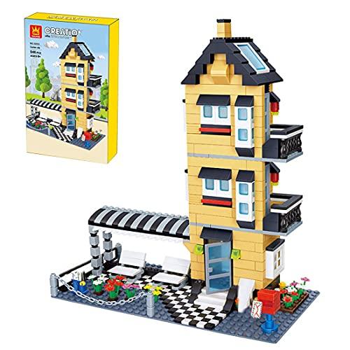 Modular Haus Bausteine Kit, Wüstenvilla mit Böden, Türen und Fenster, Rastplätze, Briefkästen Konstruktionsspielzeug Modell Kompatibel mit Lego - 546 Teile