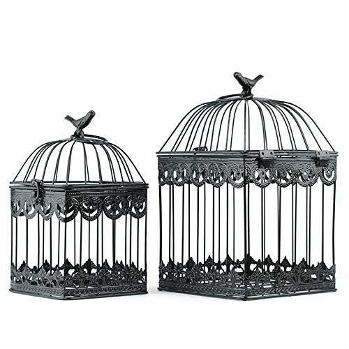Homevibes - Gabbia per Uccelli, 2 Pezzi, Gabbia Decorativa in Acciaio, Stile retrò, Design Vintage per Interni o Esterni