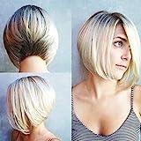 Women's Fashion Wig,Human Hair Closure Wigs,Fashion Synthetic Short Straight Dyeing BOB Gold Natural Hair Full Wigs For Women,Wigs for Black Women Human Hair Wigs for Lady Daily Party (A)
