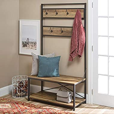 WE Furniture  Farmhouse Entry Bench Mudroom Hall Tree Storage Shelf Coat Rack, 72 Inch, Rustic Oak