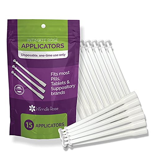 15 Count Vaginal Suppository Applicators, Individually Wrapped, Disposable Applicator - Fits Most Boric Acid Suppositories and More, from Intimate Rose, Pack of 15