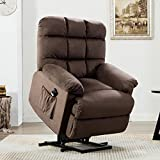 ANJ Power Lift Recliner Chair for Elderly with Side Pocket - Over Stuffed Armrest and Comfort Broad Backrest - Remote Control for Gentle Motor-L9693, Chocolate