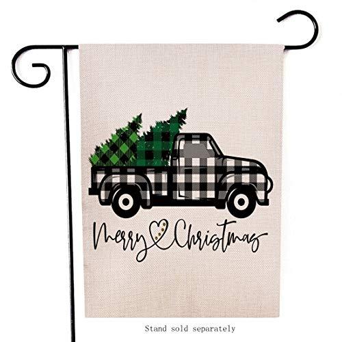 Artofy Merry Christmas Garden Flag, Decorative Xmas Outdoor Flag Sign Buffalo Check Plaid Truck Black White, Rustic Burlap House Yard Flag Winter Outside Decoration Holiday Home Decor Flag 12 x 18