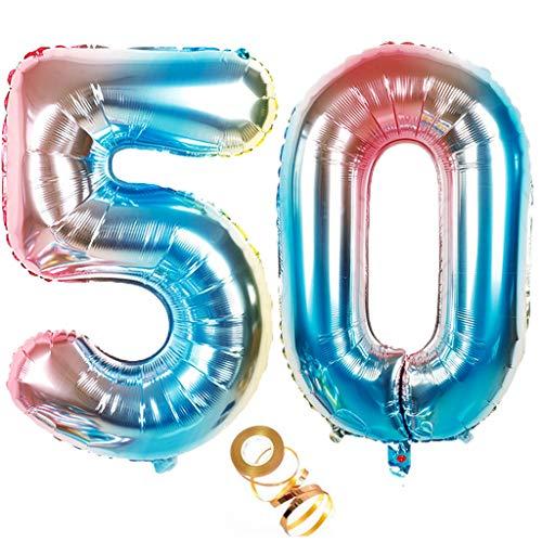 Globos de 100 cm con número 40 en arco iris para decoración de cumpleaños para niñas y niños, con número 50 en arcoíris, para decoración de cumpleaños número 50, globos de helio con números