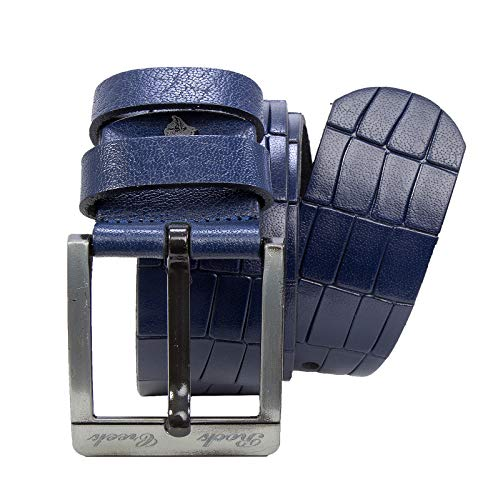 Rock Creek Herren Leder Gürtel Jeansgürtel Herrengürtel Ledergürtel Echt Leder Rindsleder Gürtel Metall Dornschließe G-003 Blau 135