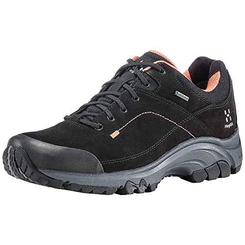 Haglöfs Ridge GT, Zapatillas de Senderismo para Mujer, Negro (True Black/Coral Pin 3yd), 42 2/3 EU