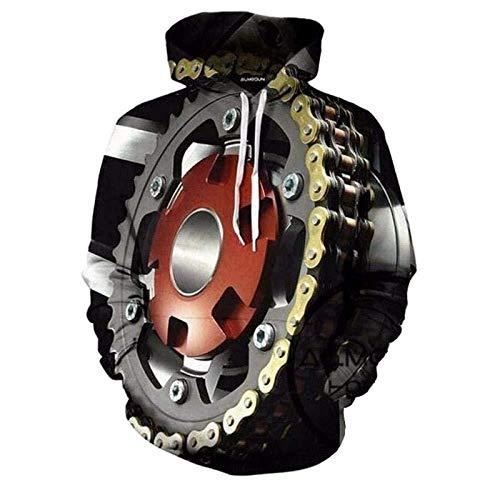 yyqx container 3D Sweatshirt Hoodie Motorrad Motor Unisex 3D Bedruckte Hoodies Langarm Streetwear Paare Pullover mit großer Tasche und Kordelzug Einzigartige Sweatshirts-Farbe , L.