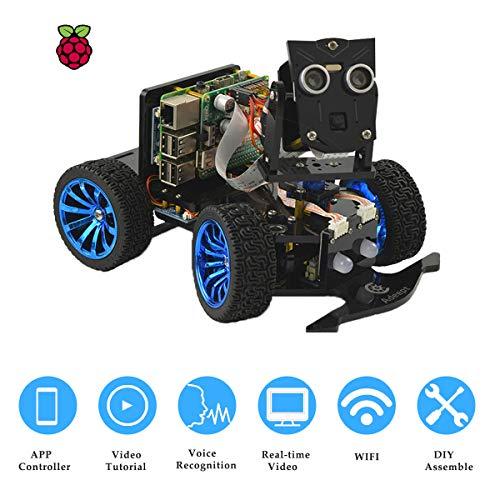 PiCar-B WiFi Wireless Smart Robot Car Kit para Raspberry Pi 4/3 Modelo B+/B reconocimiento de voz seguimiento de objetivos OpenCV transmisión de video en tiempo real robot educativo Raspberry Pi