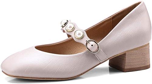 GTVERNH Chaussures Femmes Printemps Anglais Anglais Anglais Chaussures De Bruts Tête Carrée Douce Fille De Souliers en Cuir Les Chaussures à Talons Moyenne des Femmes. 579