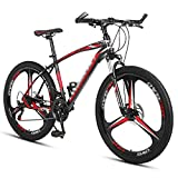 Bicicleta Montaña 26 Ruedas Bici De Montaña Daul Disc Disc Frenos 21/24/27 Speed Mens Biciclet Front Suspension Mtb Con Marco De Acero De Alto Contenido De Carbono Para Niños(Size:21 Speed,Color:rojo)