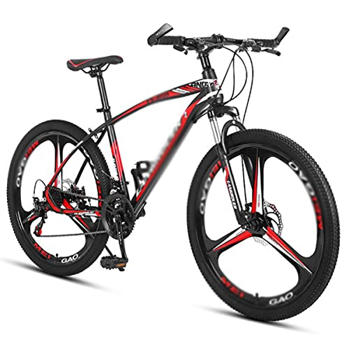 Bicicleta Montaña 26 'pulgadas Hombres Bicicleta De Montaña 21/24/27 Ruedas De Llanta De Aleación De Velocidad 21/24/27 Cambiederos De Velocidad Con Marco De Acero Al Carbono(Size:21 Speed,Color:rojo)