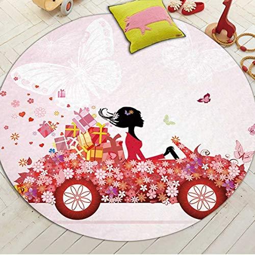 Fee Auto Runde Teppiche Moderne Gedruckt Kreative Stilvolle Komfortable Decor Teppich Baby Krabbeln Wohnzimmer Kinderzimmer Bad Anti Slip Weiche Matte 100 cm