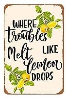 レトロな新メタルレモンスズロゴ12x8インチ、問題が溶けてレモンドリップのようメタルスズポスターレトロガレージガーデンキッチンバーレストラン壁装飾レモネードレモン装飾