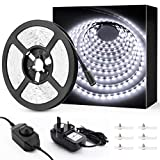 Image of Novostella 6M White LED Strip Lights Kit, 6000K Daylight White Dimmable Strip Lighting, 360 Units SMD 2835 LEDs, 12V Tape, Ribbon with Adapter and Clips, for Stairway Home Decoration Cupboard