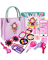 Little Girls Purse Set - 13 Pcs Play Purse and Pretend Makeup Toy, My First Princess Purse, Including Smartphone, Sunglasses, Credit Card and Lipstick, Gift for Toddler Girls Age 2, 3, 4, 5
