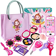 👛【THE DREAMY FIRST PURSE SET FOR YOUR LITTLE PRINCESS】Our little girls purse set has complete basic necessities of daily life, which includes not only a stylish pinkish purple purse but also toy makeups, such as a fake phone, car keys, pretend lipsti...