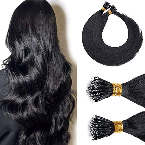 Nano Tip Remy Hair Extensions Nano Ring Human Hair Extensions Cold Fushion Tipped Real Hair Micro Beads Links Hairpiece Full Head Brazilian Hair For Women 18inch 50g/PACK 50 Strands #1B Natural Black