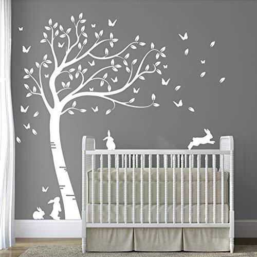 DesignDivil Full Size weiß schöne häschen-Baum kinderzimmer wandtattoo dd007
